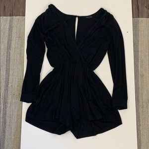 Black Playsuit - Flowy bottom (sinches at waist)